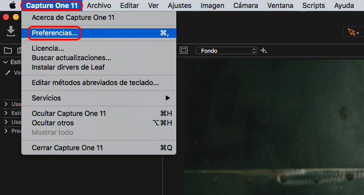 preferencias capture one mac